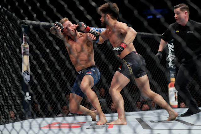 Henry Cejudo finished T.J. Dillashaw in the first round of their flyweight championship bout on Jan. 20, 2019, in New York. (AP Photo/Frank Franklin II)