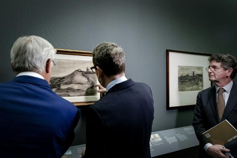 Two Van Gogh drawings were unveiled Tuesday at an exhibition at the Singer Laren museum