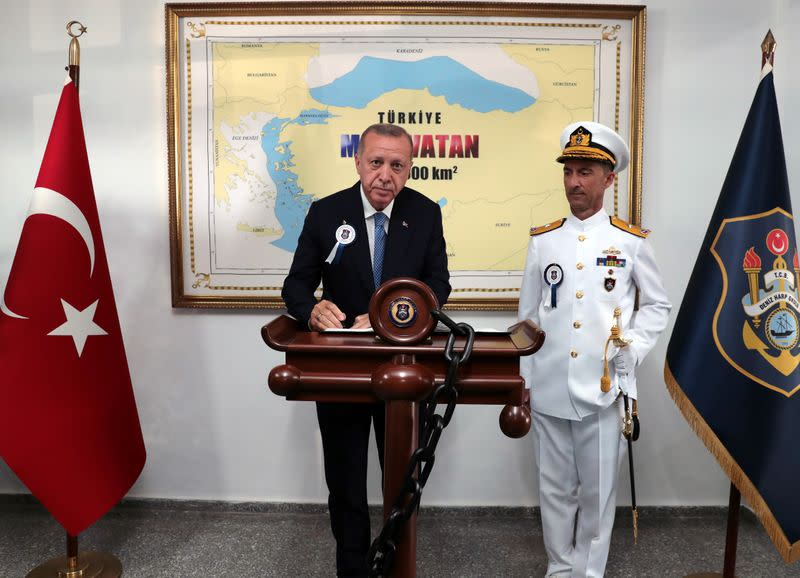 Turkish President Erdogan attends a ceremony at the Naval Academy in Istanbul
