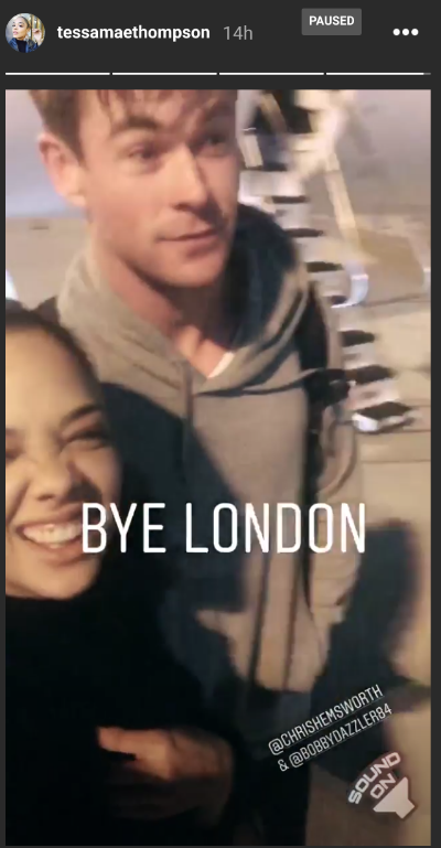 tessa thompson chris hemsworth avengers 4 atlanta