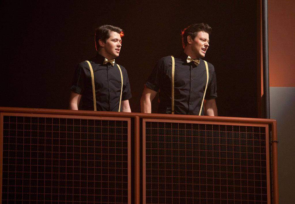 "Rory (Damian McGinty) and Finn (Cory Monteith) perform at Regionals in the ""On My Way"" Winter Finale episode of ""Glee."""