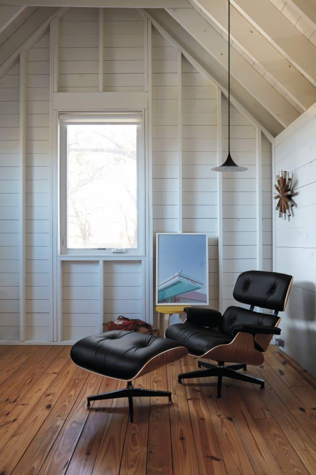 The Eames Lounge Chair, shown here with a walnut frame, which retails at Design Within Reach.
