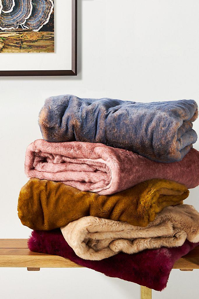 Aleksi Faux Fur Throw Blanket. Image via Anthropologie