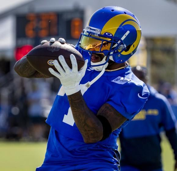 IRVINE, CA - JULY 28, 2021: Rams new wide receiver DeSean Jackson (1) pulls in a pass.