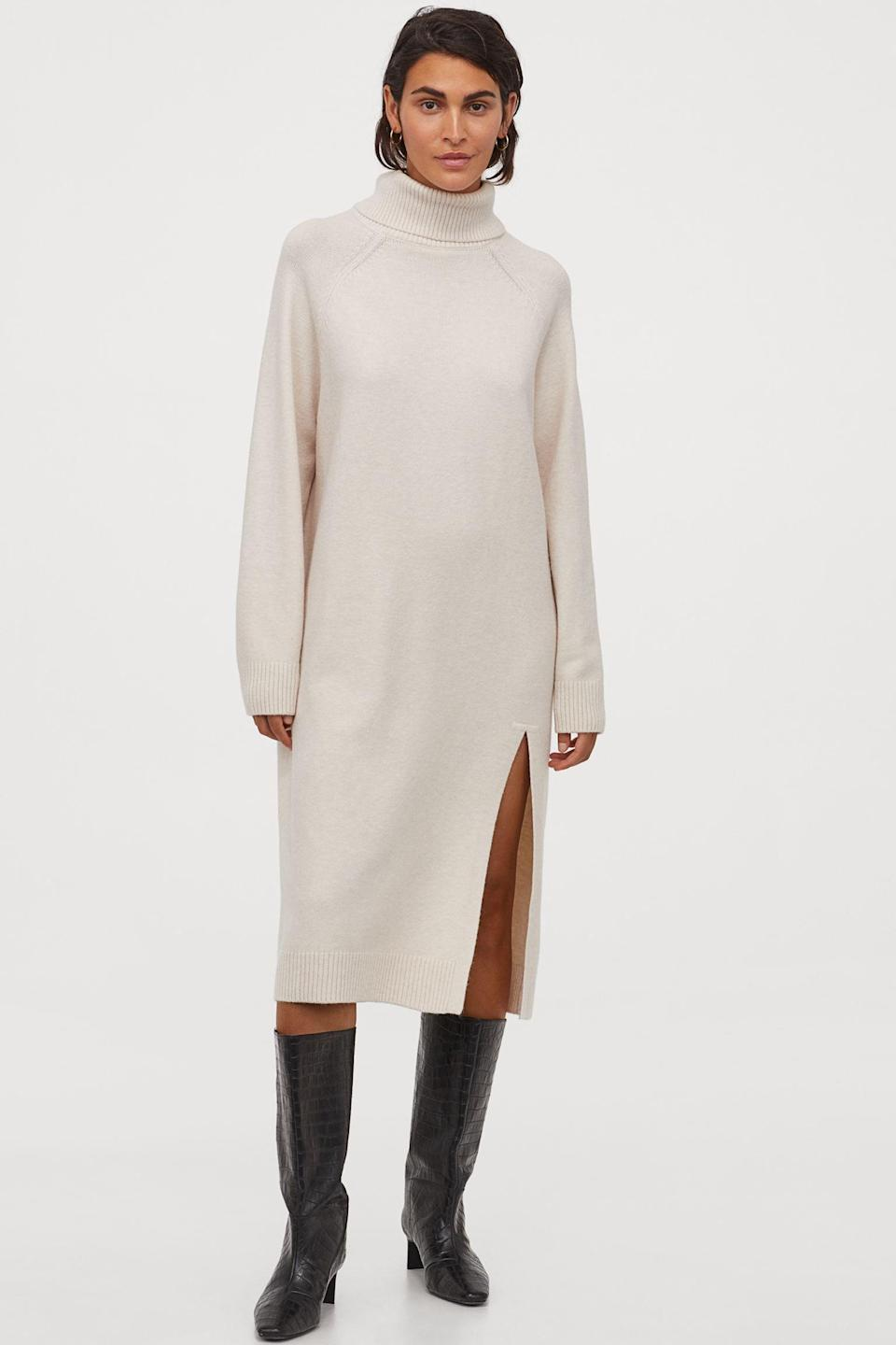 <p>I love the polished quality of this <span>Knit Turtleneck Dress</span> ($40).</p>
