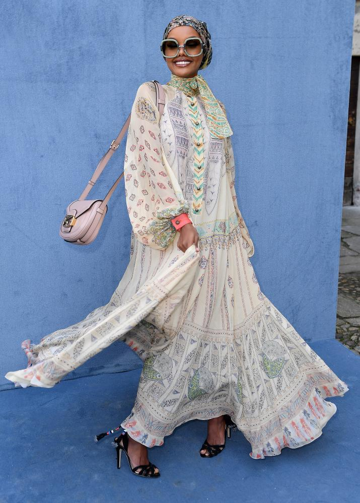 Halima Aden in Milan, February 2020.