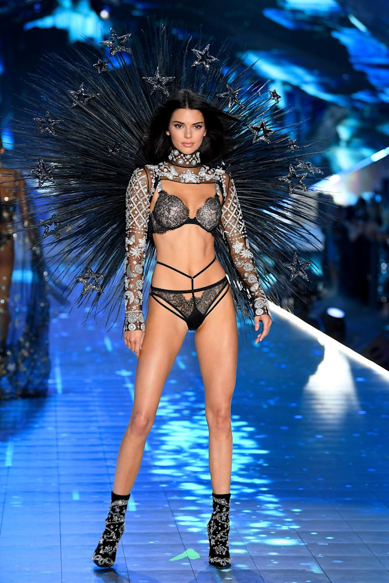 NEW YORK, NY - NOVEMBER 08: Kendall Jenner walks the runway during the 2018 Victoria's Secret Fashion Show at Pier 94 on November 8, 2018 in New York City. (Photo by Dimitrios Kambouris/Getty Images for Victoria's Secret)