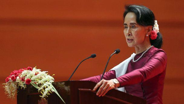 PHOTO: Myanmar's State Counsellor Aung San Suu Kyi delivers a televised speech to the nation at the Myanmar International Convention Center in Naypyitaw, Myanmar, Sept. 19, 2017. (AP)