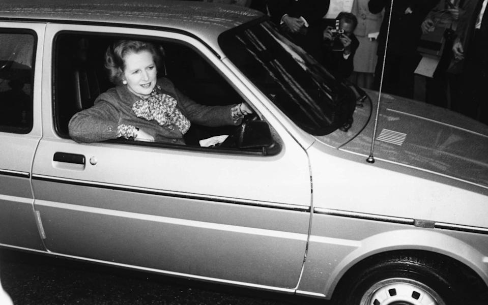 British Prime Minister Margaret Thatcher arriving in her Mini Metro car to open the Intentional Motor Show, Birmingham, England, October 17th 1980
