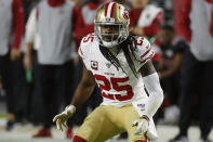 FILE - In this Oct. 31, 2019, file photo, San Francisco 49ers cornerback Richard Sherman (25) plays during the first half of an NFL football game against the Arizona Cardinals, in Glendale, Ariz. Two of the best at their jobs will meet once again in the NFC championship game when Green Bay quarterback Aaron Rodgers must decide how much to challenge San Francisco cornerback Richard Sherman. (AP Photo/Rick Scuteri, File)