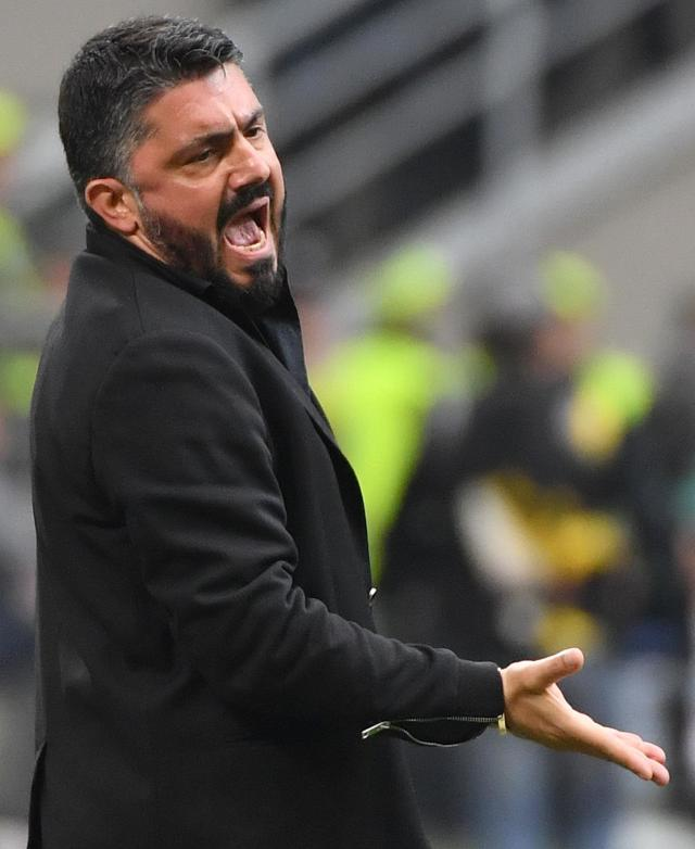 AC Milan coach Rino Gattuso shouts during the Serie A soccer match between Napoli and AC Milan at the Milan San Siro Stadium, Italy, Sunday, April 15, 2018. (Daniel Dal Zennaro/ANSA via AP)