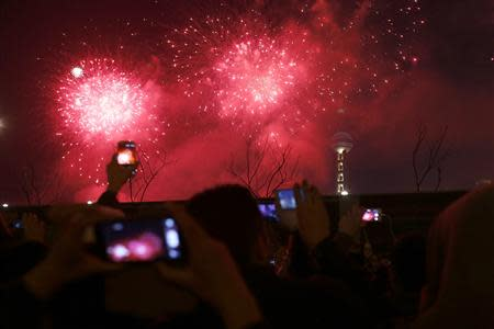 Visitors take pictures and videos as fireworks explode over Oriental Pearl Tower as part of a New Year countdown celebration on the Bund in Shanghai January 1, 2014. REUTERS/Aly Song