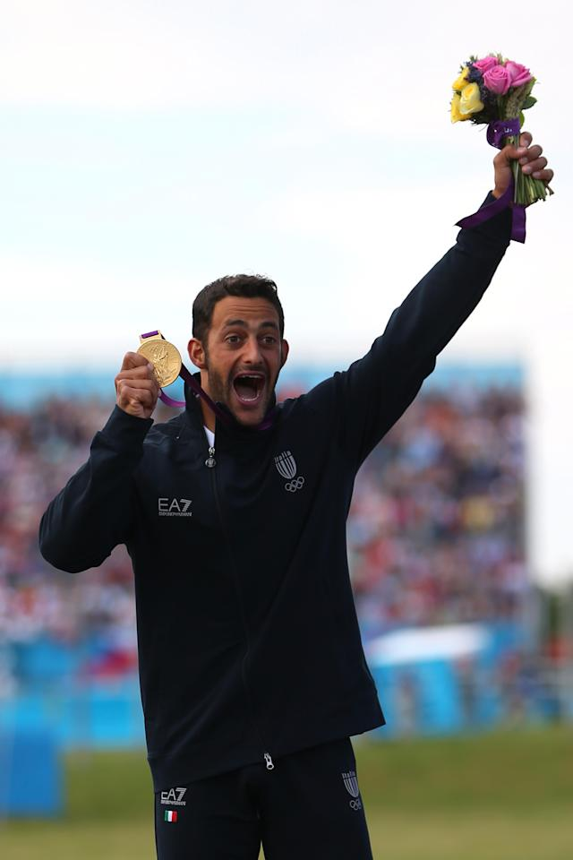 LONDON, ENGLAND - AUGUST 01: Daniele Molmenti of Italy celebrates winning the gold medal in the Men's Kayak Single (K1) Final on Day 5 of the London 2012 Olympic Games at Lee Valley White Water Centre on August 1, 2012 in London, England. (Photo by Phil Walter/Getty Images)