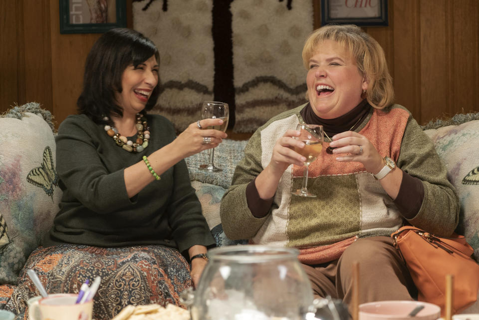 "This image released by Lionsgate shows Rose Abdoo, left, and Fortune Feimster in ""Barb and Star Go to Vista Del Mar."" (Richard Foreman/Lionsgate via AP)"