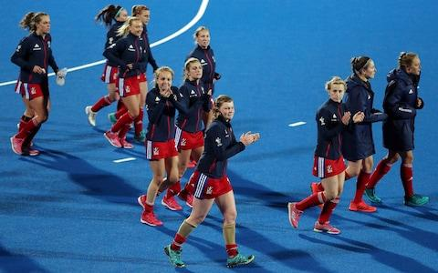 Great Britain players applauds fans following the Women's FIH Field Hockey Pro League match between Great Britain and China at Lee Valley Hockey and Tennis Centre - Credit: Getty images