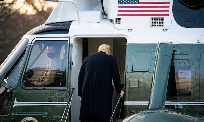 Donald Trump leaves the White House on 20 January.