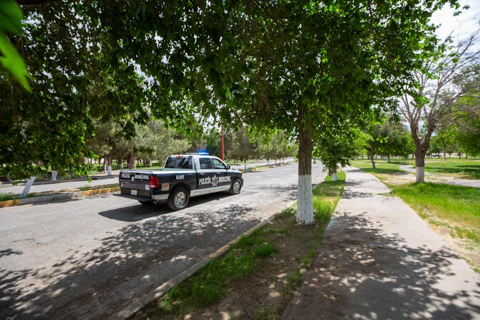 Ciudad Juarez municipal police patrol El Chamizal public park on April 27, 2021. The park continues to be closed to the public since Easter Weekend as COVID-19 infections continue to rise in the border city.
