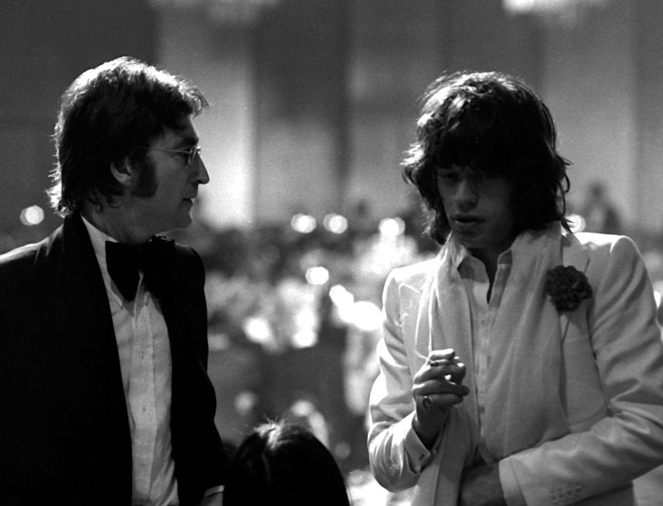 <p>In 1974, rock legends Lennon and Jagger attended the American Film Institute Lifetime Achievement Awards in LA. </p>