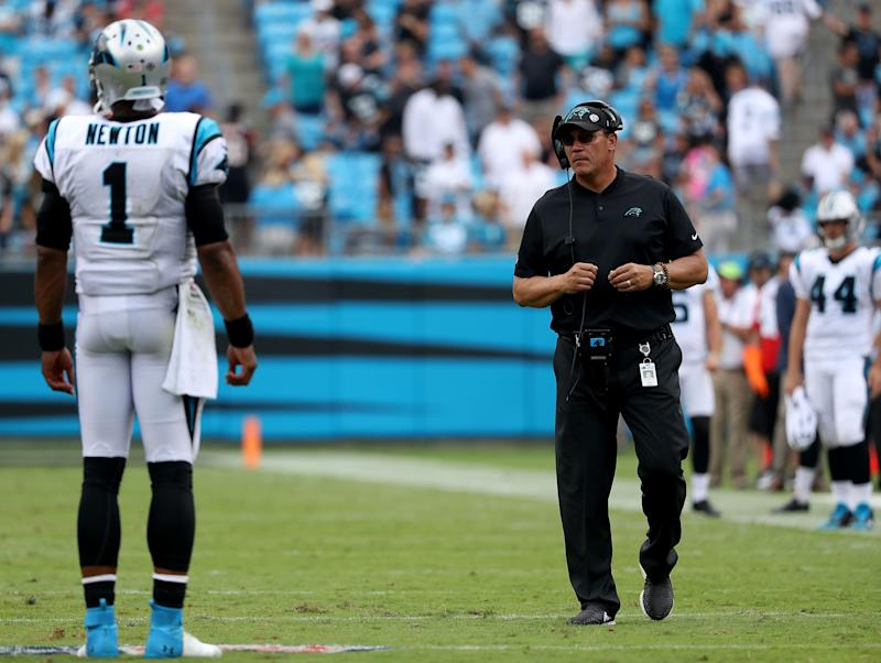 Carolina Panthers coach Ron Rivera said Wednesday that quarterback Cam Newton's training camp workload will be monitored. (Getty Images)