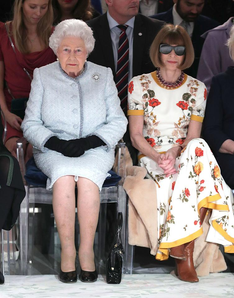 <p>It was a moment sure to go down in the fashion history books, as Queen Elizabeth II made a surprise appearance on the FROW at Richard Quinn during London Fashion Week. Her Majesty took a seat beside the Queen of Fashion, Anna Wintour, who proved she doesn't take her signature sunnies off for anyone… <em>[Photo: Getty]</em> </p>
