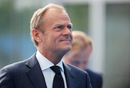 FILE PHOTO: European Council President Donald Tusk arrives for the second day of a NATO summit in Brussels, Belgium, July 12, 2018. Tatyana Zenkovich/Pool via REUTERS
