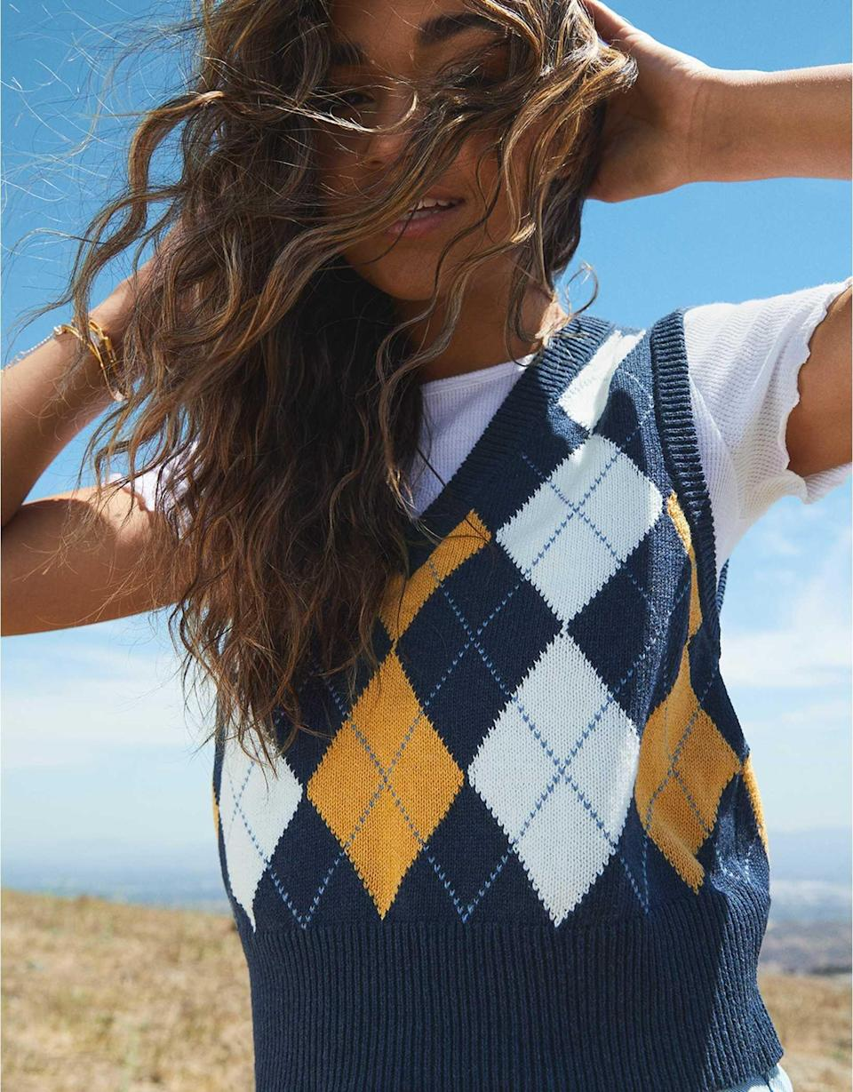 <p>This <span>AE Argyle Sweater Vest</span> ($35) makes the perfect transitional piece because you can wear it on its own or style it over a short-sleeved top for a stylish farm look. Just add a bucket hat, and you'll be on trend for sweater weather.</p>