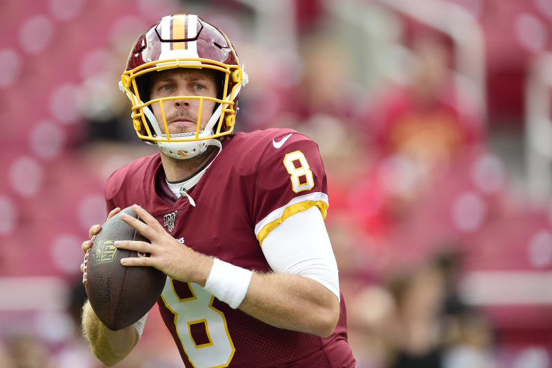 LANDOVER, MD - AUGUST 15: Case Keenum #8 of the Washington Redskins throws a pass before a preseason game against the Cincinnati Bengals at FedExField on August 15, 2019 in Landover, Maryland. (Photo by Patrick McDermott/Getty Images)