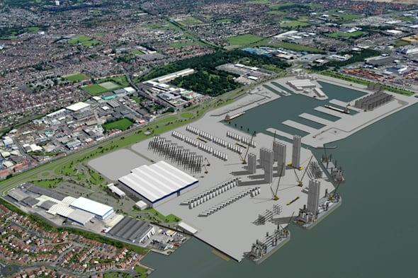 Undated handout artist impression of their proposed offshore wind project construction assembly and service facility at Green Port Hull. The manufacturing giant Siemens is to invest £160 million in wind turbine production and installation facilities in the UK, creating 1,000 new jobs. PRESS ASSOCIATION Photo. Issue date: Tuesday March 25, 2014. The German firm had been working on plans to invest £80 million, which would have led to 700 jobs, but it has decided to revise its plans, giving a boost to the offshore wind industry. The work will be spread across two sites comprising the previously announced Green Port Hull project construction, assembly and service facility and a new rotor blade manufacturing facility in nearby Paull, in East Riding. See PA story INDUSTRY Jobs. Photo credit should read: Siemens/PA WireNOTE TO EDITORS: This handout photo may only be used in for editorial reporting purposes for the contemporaneous illustration of events, things or the people in the image or facts mentioned in the caption. Reuse of the picture may require further permission from the copyright holder.