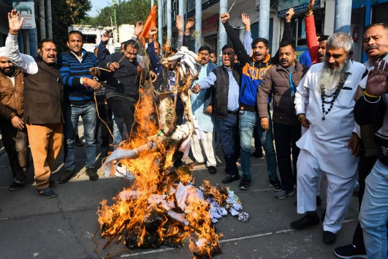 Activists protest against the rape and murder of a 27-year-old woman in India; police later shot dead the four detained suspects at the scene of the alleged crime (AFP Photo/Narinder NANU)