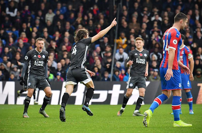 Leicester City's Turkish defender Caglar Soyuncu (2L) celebrates scoring the opening goal during the English Premier League football match between Crystal Palace and Leicester City at Selhurst Park in south London on November 3, 2019. (Photo by Ben STANSALL / AFP) / RESTRICTED TO EDITORIAL USE. No use with unauthorized audio, video, data, fixture lists, club/league logos or 'live' services. Online in-match use limited to 120 images. An additional 40 images may be used in extra time. No video emulation. Social media in-match use limited to 120 images. An additional 40 images may be used in extra time. No use in betting publications, games or single club/league/player publications. / (Photo by BEN STANSALL/AFP via Getty Images)