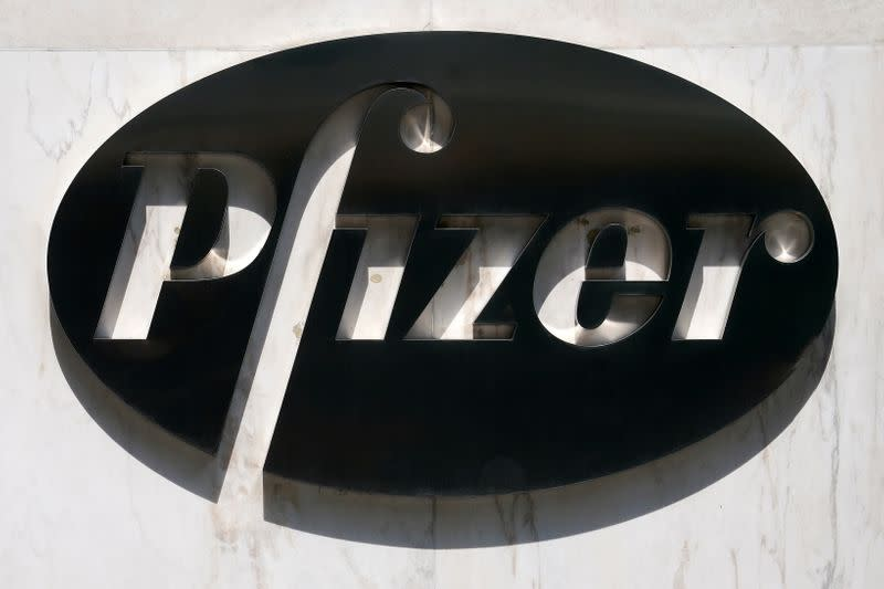 FILE PHOTO: A sign is pictured outside Pfizer Headquarters in the Manhattan borough of New York City