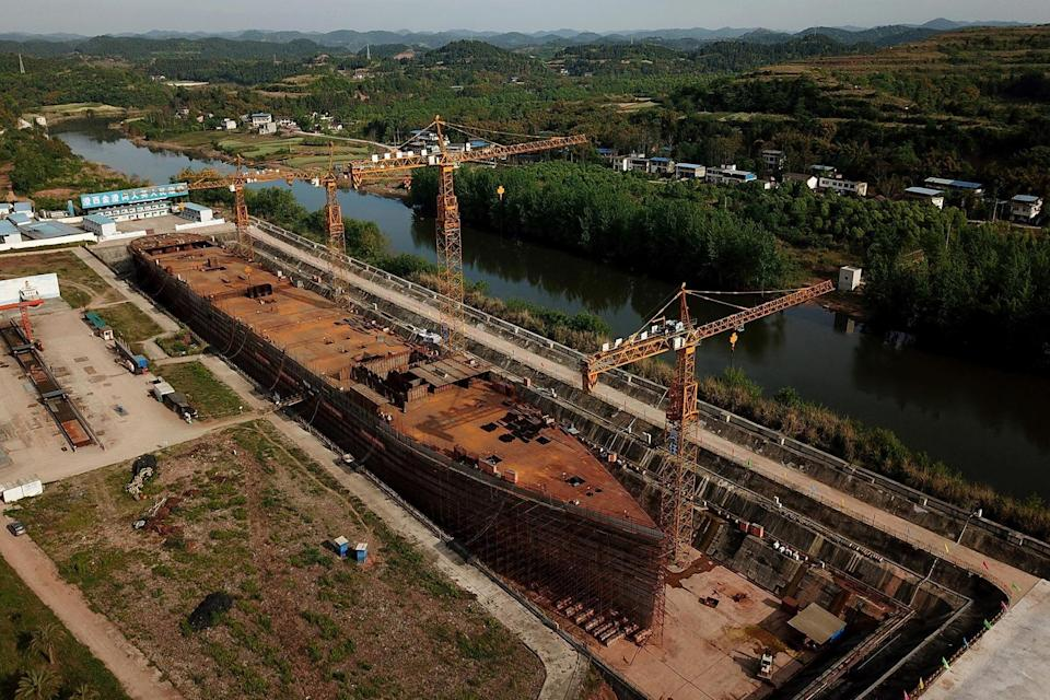 Aerial photo of a still-under-construction replica of the Titanic ship in Daying County in China's