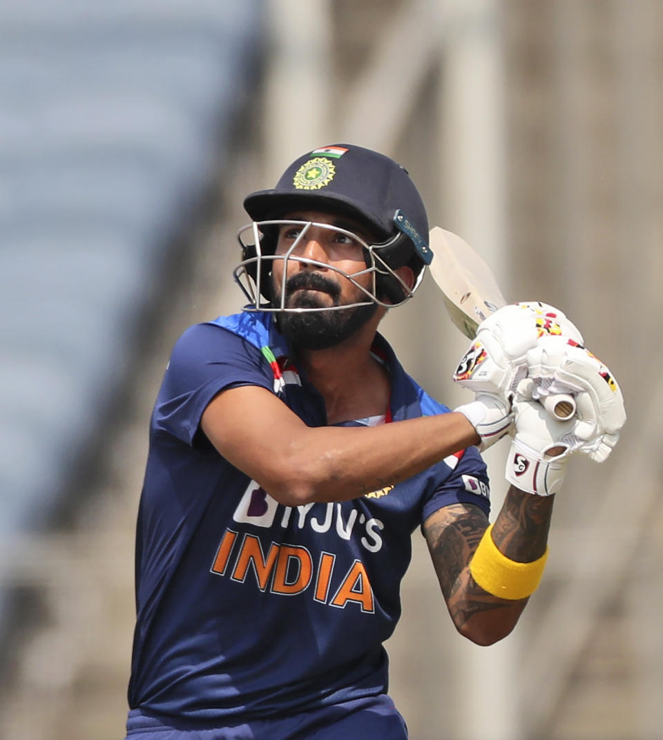 India's KL Rahul bats during the second one-day international cricket match between India and England in Pune, India, Friday, March 26, 2021. (AP Photo/Rafiq Maqbool)