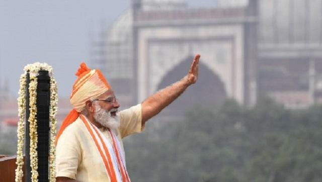 Sporting a saffron and cream headgear,Prime Minister Narendra Modi unfurled the National Flag with the assistance of Major Shweta Pandey. Modi delivered his seventh consecutive speech from the ramparts of the Red Fort. AFP Major Shweta Pandey assisted the prime minister in unfurling the national flag.