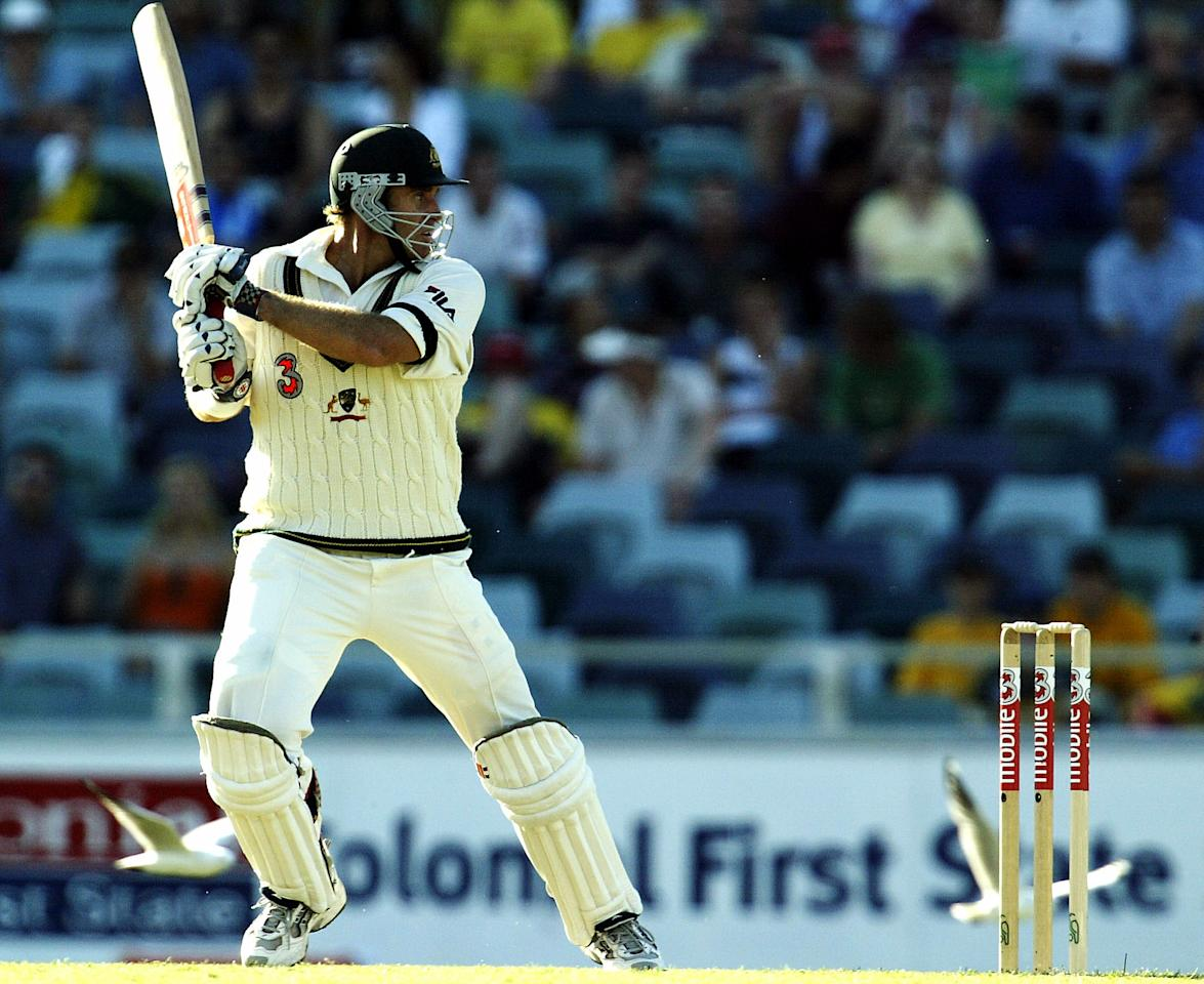 PERTH, AUSTRALIA - OCTOBER 9:  Matthew Hayden of Australia in action during day one of the First Test between Australia and Zimbabwe played at the WACA on October 9, 2003 in Perth, Australia. (Photo by Hamish Blair/Getty Images)