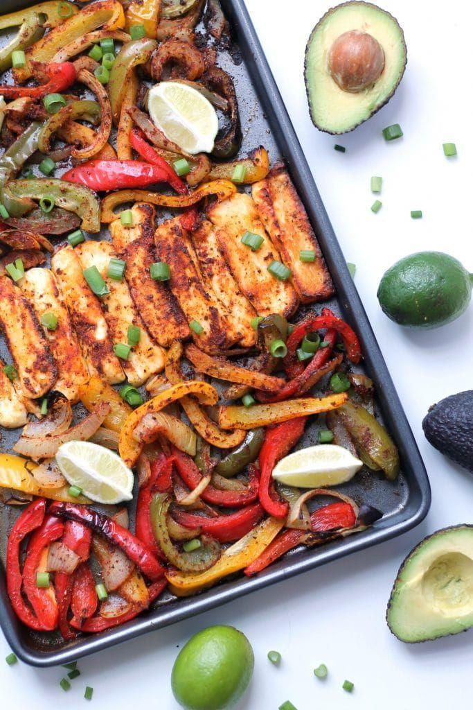 """<p>Fajitas are a top-tier kind of dinner anyway, but add some halloumi and you've just bumped it up a level. </p><p>Get the <a href=""""https://www.happyveggiekitchen.com/halloumi-fajitas/"""" rel=""""nofollow noopener"""" target=""""_blank"""" data-ylk=""""slk:Roasted Halloumi Fajitas"""" class=""""link rapid-noclick-resp"""">Roasted Halloumi Fajitas</a> recipe.</p><p>Recipe from <a href=""""https://www.happyveggiekitchen.com/"""" rel=""""nofollow noopener"""" target=""""_blank"""" data-ylk=""""slk:Happy Veggie Kitchen"""" class=""""link rapid-noclick-resp"""">Happy Veggie Kitchen</a>.</p>"""