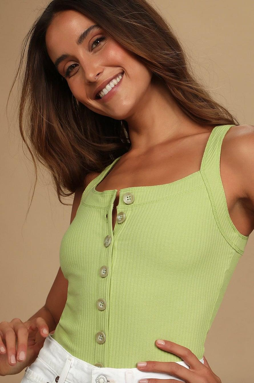 <p><span>Lulus My Best Self Lime Green Ribbed Button-Front Tank Top</span> ($38)</p>