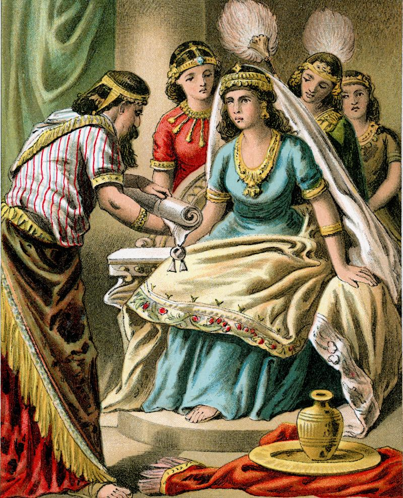 An artistic depiction of Queen Esther in a color lithograph from 1882. (Photo: duncan1890 via Getty Images)