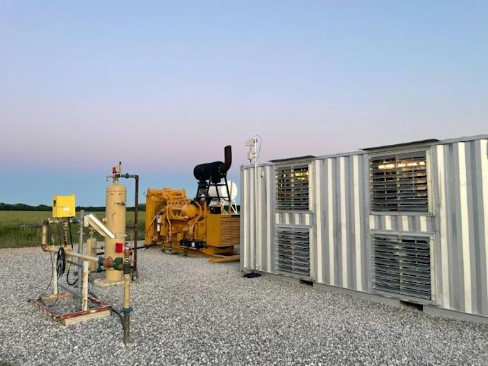 A handout photo from Giga Energy Solutions shows a natural gas generator powering a bitcoin mining center in north Texas in May 2021