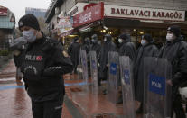Riot police stand as women stage a protest rally in Ankara, Turkey, Saturday, March 20, 2021. Turkey withdrew early Saturday from a landmark European treaty protecting women from violence that it was the first country to sign 10 years ago and that bears the name of its largest city. President Recep Tayyip Erdogan's overnight decree annulling Turkey's ratification of the Istanbul Convention is a blow to women's rights advocates, who say the agreement is crucial to combating domestic violence. (AP Photo/Burhan Ozbilici)