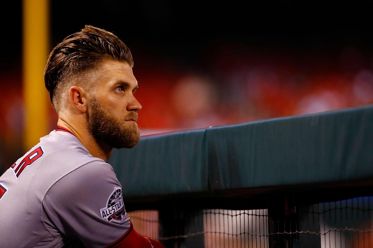ST. LOUIS, MO – AUGUST 16: Bryce Harper #34 of the Washington Nationals looks on from the dugout during a game against the St. Louis Cardinals at Busch Stadium on August 16, 2018 in St. Louis, Missouri. (Photo by Dilip Vishwanat/Getty Images)