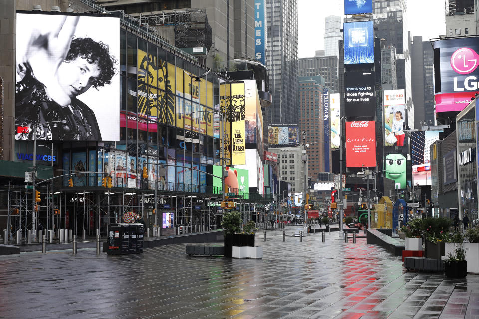 NEW YORK, NEW YORK - MAY 08:  Times Square is seen nearly empty as daily life continues amid the coronavirus outbreak on May 08 2020 in New York City. COVID-19 has spread to most countries around the world, claiming over 275,000 lives and infecting over 4 million people. (Photo by John Lamparski/Getty Images)