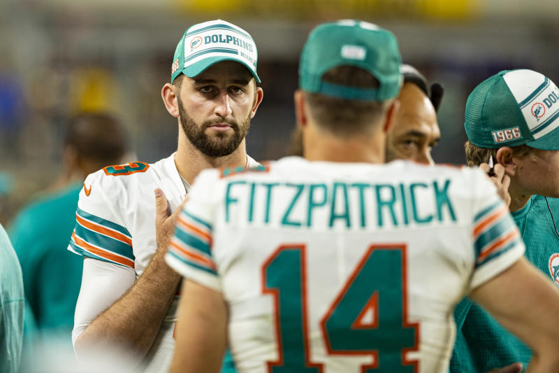 Miami Dolphins quarterback Josh Rosen will continue to back up Ryan Fitzpatrick. (Getty Images)