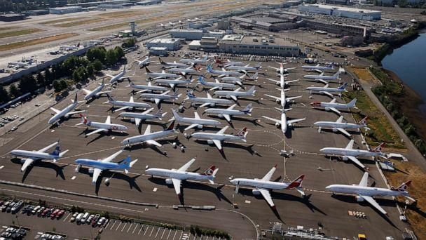 PHOTO: Grounded Boeing 737 MAX aircraft are seen parked in an aerial photo at Boeing Field in Seattle, July 1, 2019. (Lindsey Wasson/Reuters, FILE)