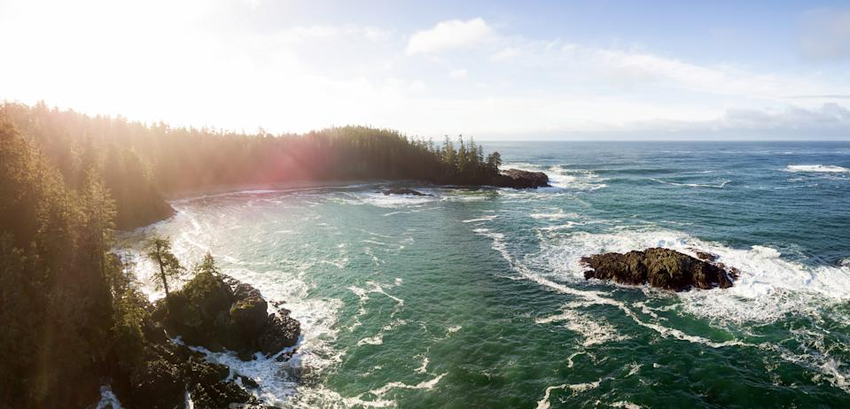 Aerial panoramic seascape view during a vibrant winter morning. Taken near Tofino and Ucluelet, Vancouver Island, British Columbia, Canada. (Provided by Expedia)