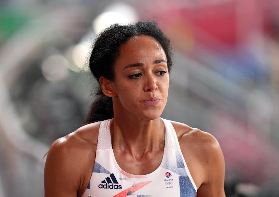 Great Britain's Katarina Johnson-Thompson was distraught after the race (Joe Giddens/PA) (PA Wire)