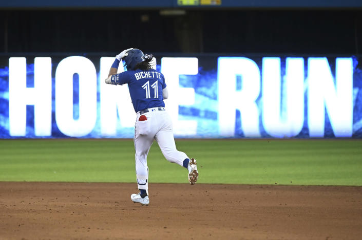 Toronto Blue Jays' Bo Bichette rounds the bases following his solo home run in the fifth inning of a baseball game against the Tampa Bay Rays in Toronto on Monday, Sept. 13, 2021. (Jon Blacker/The Canadian Press via AP)