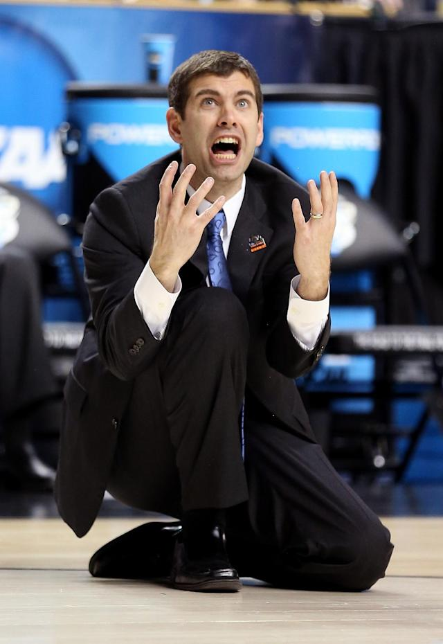 Head coach Brad Stevens of the Butler Bulldogs reacts after a basket is called off and a foul is called against Marquette Golden Eagles in the second half during the third round of the 2013 NCAA Men's Basketball Tournament at Rupp Arena on March 23, 2013 in Lexington, Kentucky. (Photo by Andy Lyons/Getty Images)