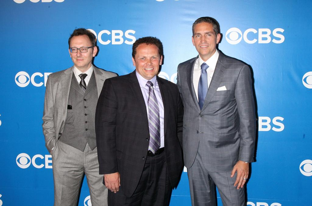 "Michael Emerson, Kevin Chapman, and Jim Caviezel (""Person of Interest"") attend CBS's 2012 Upfront Presentation on May 16, 2012 in New York City."