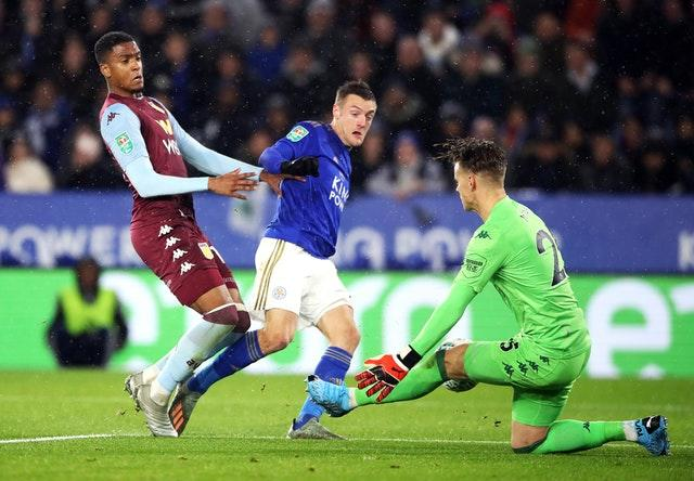 Leicester's Jamie Vardy has a shot at goal saved by Aston Villa goalkeeper Orjan Nyland
